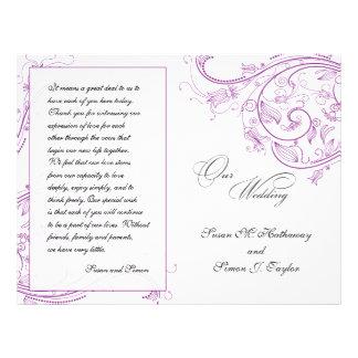 Elegant Purple Floral Wedding Program