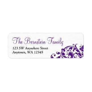 Elegant Purple Flourish Bat Mitzvah Label