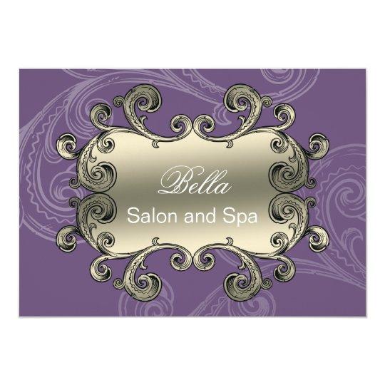 elegant purple flourish Business Thank You Cards
