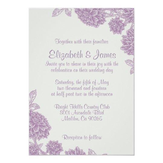 Elegant Purple Flower Wedding Invitations
