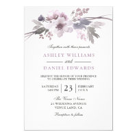 Elegant Purple Flowers White Wedding Invite