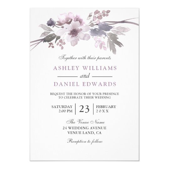 Elegant Purple Flowers White Wedding Invite