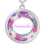 Elegant purple girls round pendant necklace