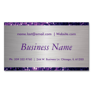 Elegant Purple Glitter and Brush Silver Steel Magnetic Business Card