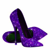 Elegant Purple Glitter High Heel Shoes Cutout