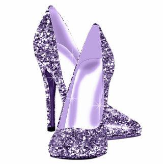 Elegant Purple Glitter High Heel Shoes Standing Photo Sculpture
