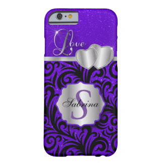 Elegant Purple Glitter Love | Personalize Barely There iPhone 6 Case
