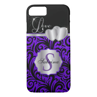 Elegant Purple Glitter Love | Personalize iPhone 8/7 Case