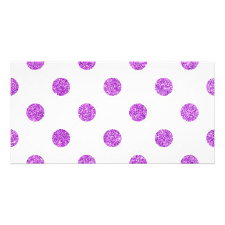 Elegant Purple Glitter Polka Dots Pattern Card