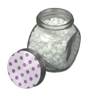 Elegant Purple Glitter Polka Dots Pattern Glass Jars