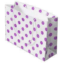 Elegant Purple Glitter Polka Dots Pattern Large Gift Bag