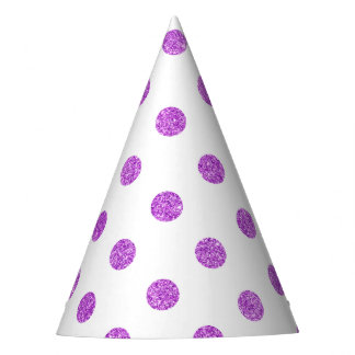 Elegant Purple Glitter Polka Dots Pattern Party Hat