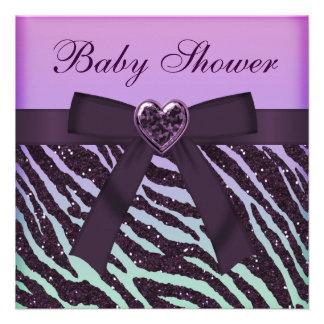 Elegant Purple Glitter Zebra Print Baby Shower Personalized Invitations