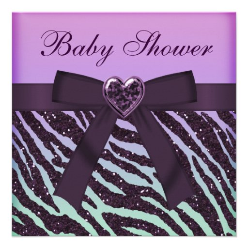 Personalized blue zebra baby shower invitations elegant purple glitter zebra print baby shower personalized invitations filmwisefo