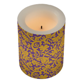 Elegant Purple Gold Brocade Pattern Personalized Flameless Candle