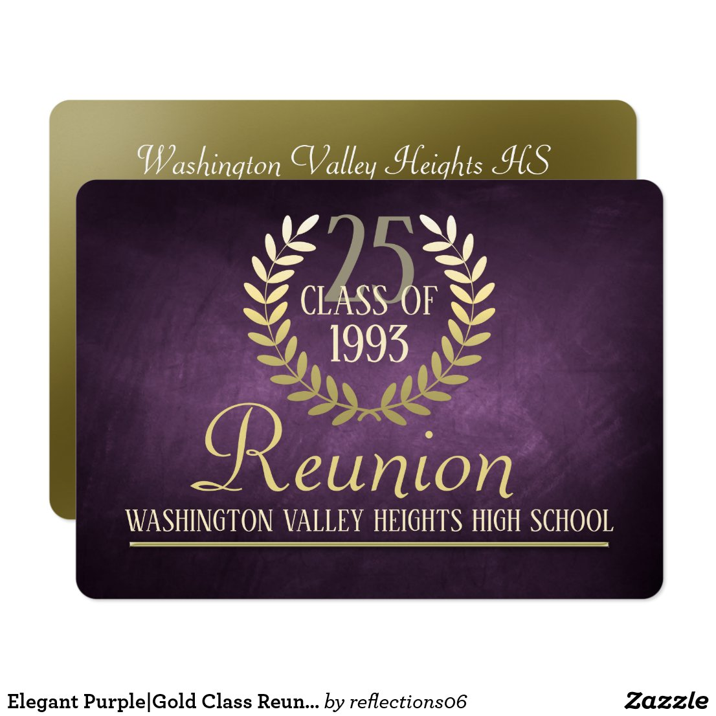 Elegant Purple|Gold Class Reunion Invitation