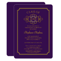 Elegant Purple | Gold College Graduation Party Card