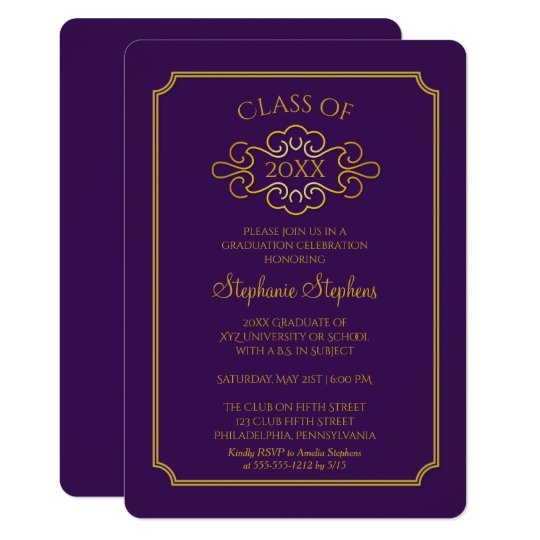 elegant purple gold college graduation party invitation zazzle com