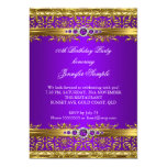 Elegant Purple Gold Damask Diamond Birthday 5x7 Paper Invitation Card