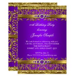Elegant Purple Gold Damask Diamond Birthday Card