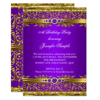 Elegant Purple Gold Damask Diamond Birthday Card