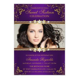 Elegant Purple & Gold Floral Sweet Sixteen Invite