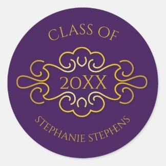 Elegant Purple | Gold Flourish Class of 2017 Name Classic Round Sticker