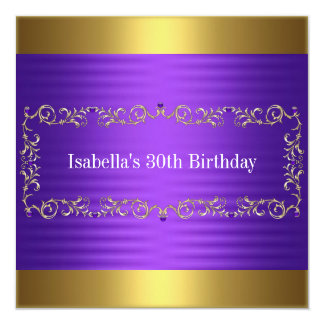 Elegant Purple & Gold Jewel Birthday Event Card