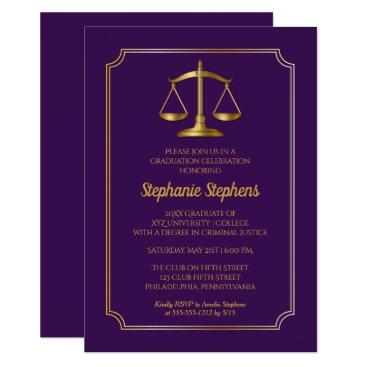 Elegant Purple Gold Law Attorney Graduation Party Invitation