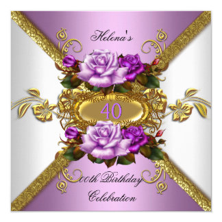 Elegant Purple Gold Roses Birthday Party Card