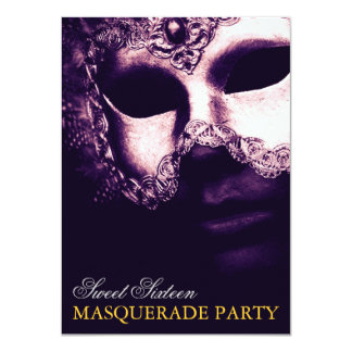 "Elegant Purple Gold Sweet 16 Masquerade Invitation 4.5"" X 6.25"" Invitation Card"