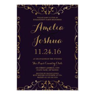 Elegant Purple Gold Swirl Engagement Party Invite