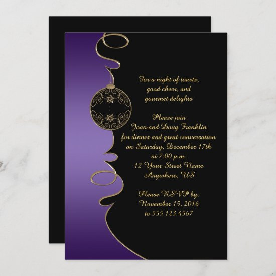 Elegant Purple Gold Swirls Black Christmas Party Invitation