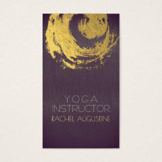 Elegant Purple & Gold YOGA ZEN Symbol Brushstrokes Business Card