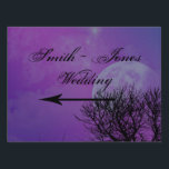 "Elegant Purple Gothic Night Posh Direction Sign<br><div class=""desc"">This beautiful and elegant design, called Elegant Purple Gothic Night Posh Wedding, has a cool Gothic inspired design. The background is a purple night time scene with a full moon and a bare tree. On the left side there is a purple scallop box to highlight your text. Perfect for a...</div>"