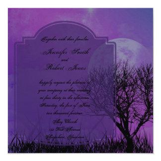 Elegant Purple Gothic Posh Wedding Invitation