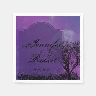 Elegant Purple Gothic Posh Wedding Napkin Standard Cocktail Napkin
