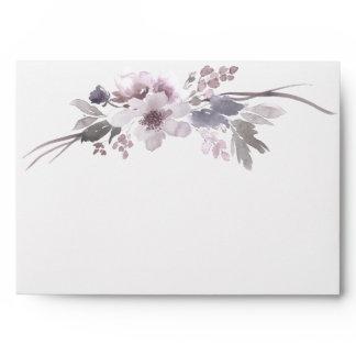 Elegant Purple Gray Winter Floral Envelope