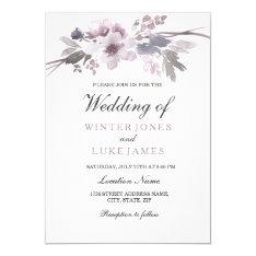 Elegant Purple Gray Winter Floral Wedding Invite at Zazzle