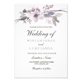 Elegant Purple Gray Winter Floral Wedding Invite