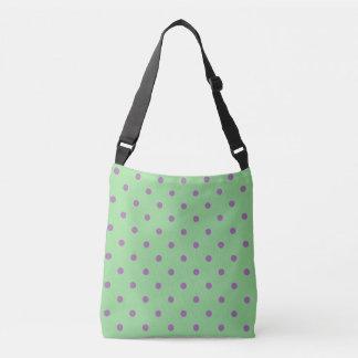 elegant purple green polka dots crossbody bag