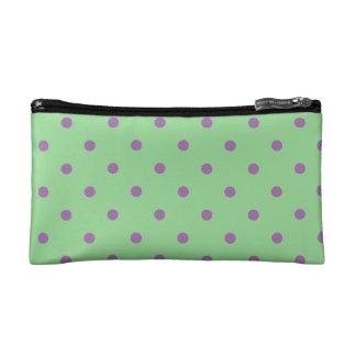 elegant purple green polka dots makeup bag