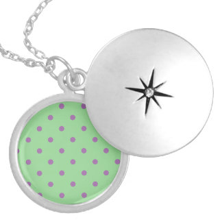 elegant purple green polka dots silver plated necklace