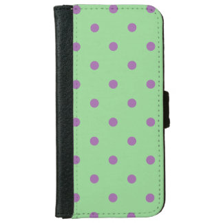 elegant purple green polka dots wallet phone case for iPhone 6/6s