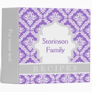 Elegant purple, grey damask recipe binder