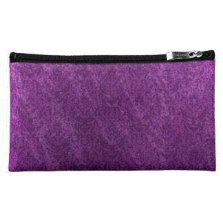 Elegant Purple Grunge Damask Luxurious Makeup Bag