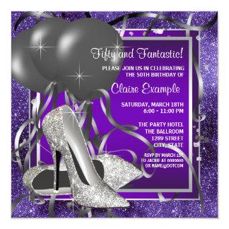 Elegant Purple High Heels Birthday Party Personalized Invites