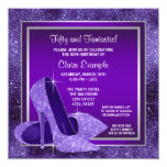Elegant Purple High Heels Womans Birthday Party 5.25x5.25 Square Paper Invitation Card