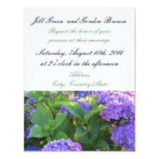 "Elegant Purple Hydrangea Wedding Invitation 4.25"" X 5.5"" Invitation Card"