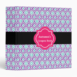 Elegant purple ikat pattern 3 Ring Binder